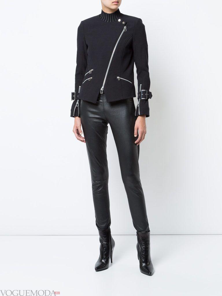 женские куртки осень-зима 2019 2020: байкерская темная