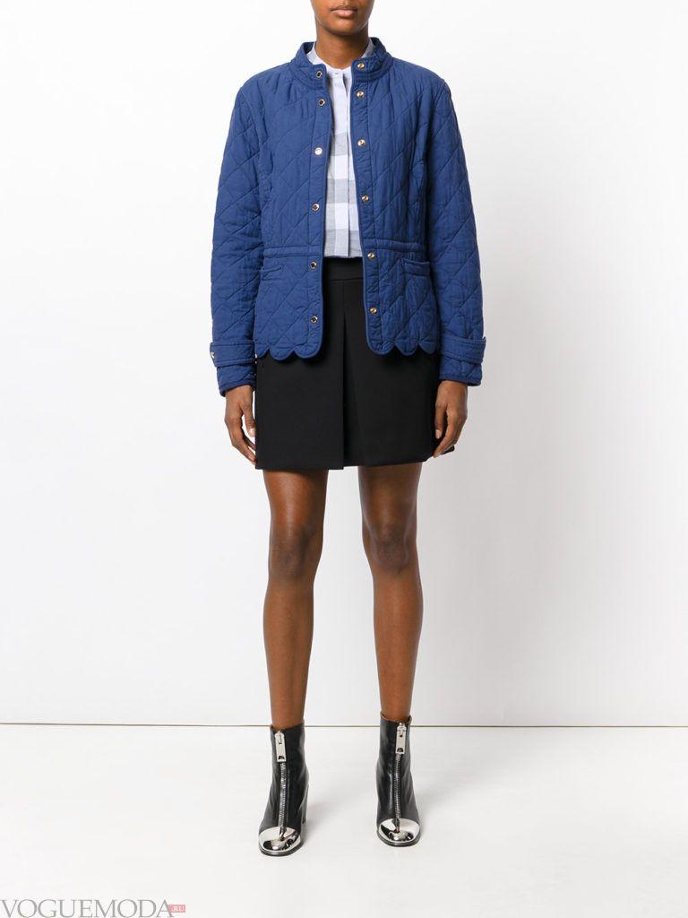женская стеганая куртка синяя