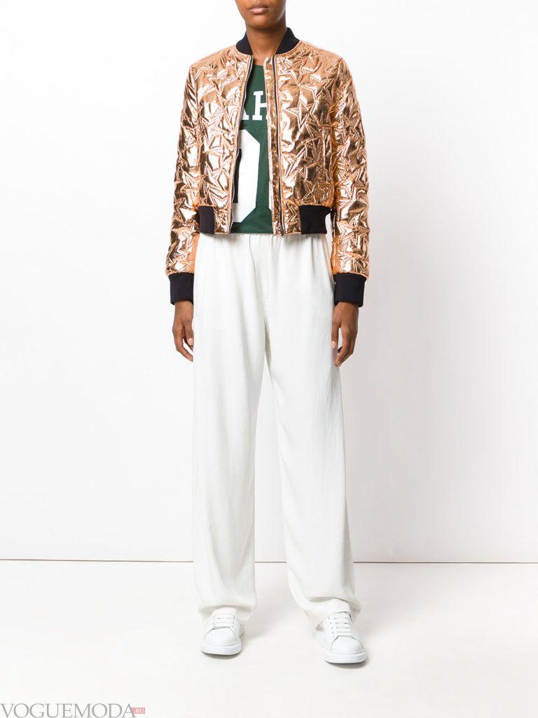 женская стеганая куртка золотая