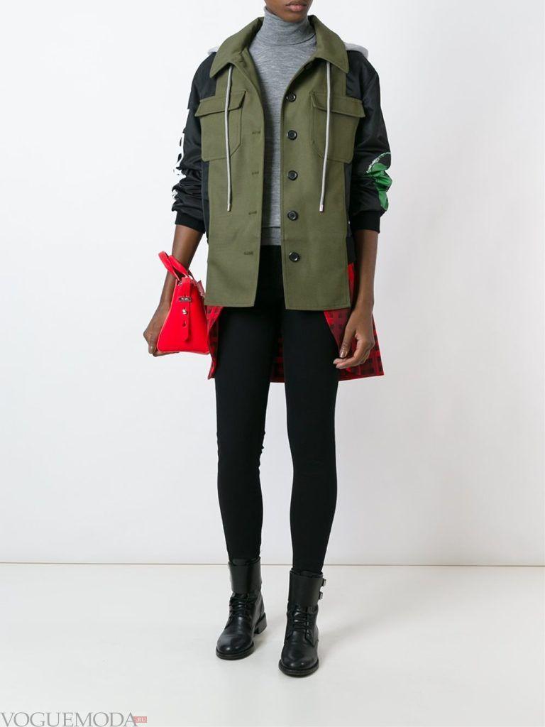 женская многослойная куртка зеленая