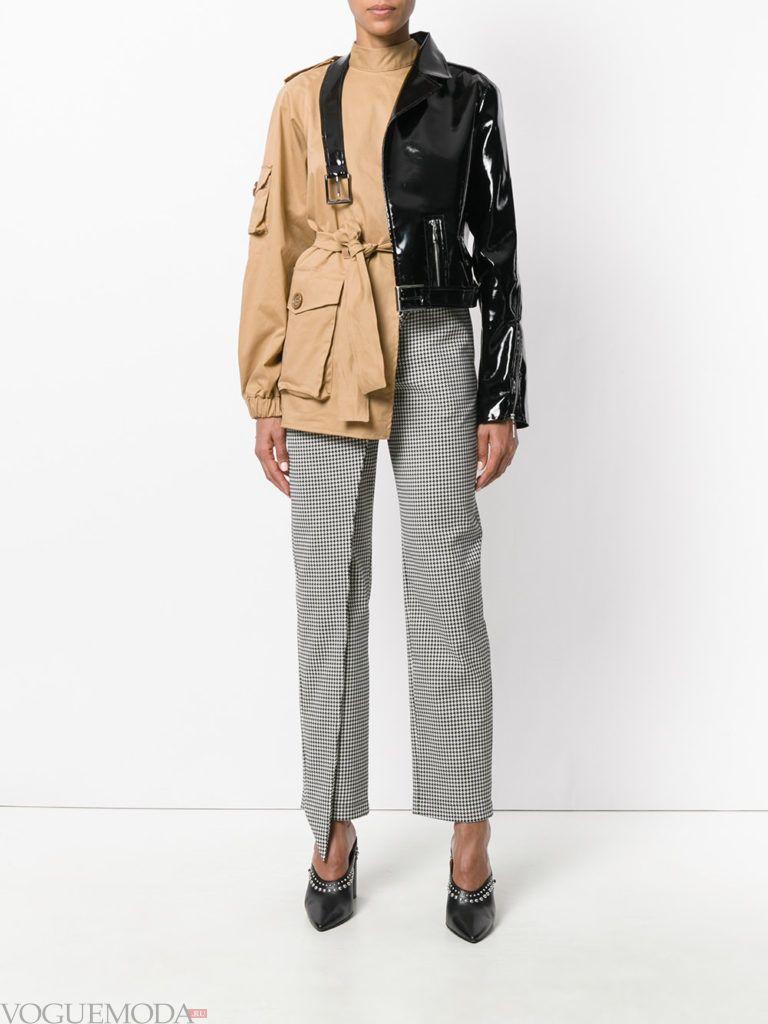 женская куртка в стиле милитари двухцветная