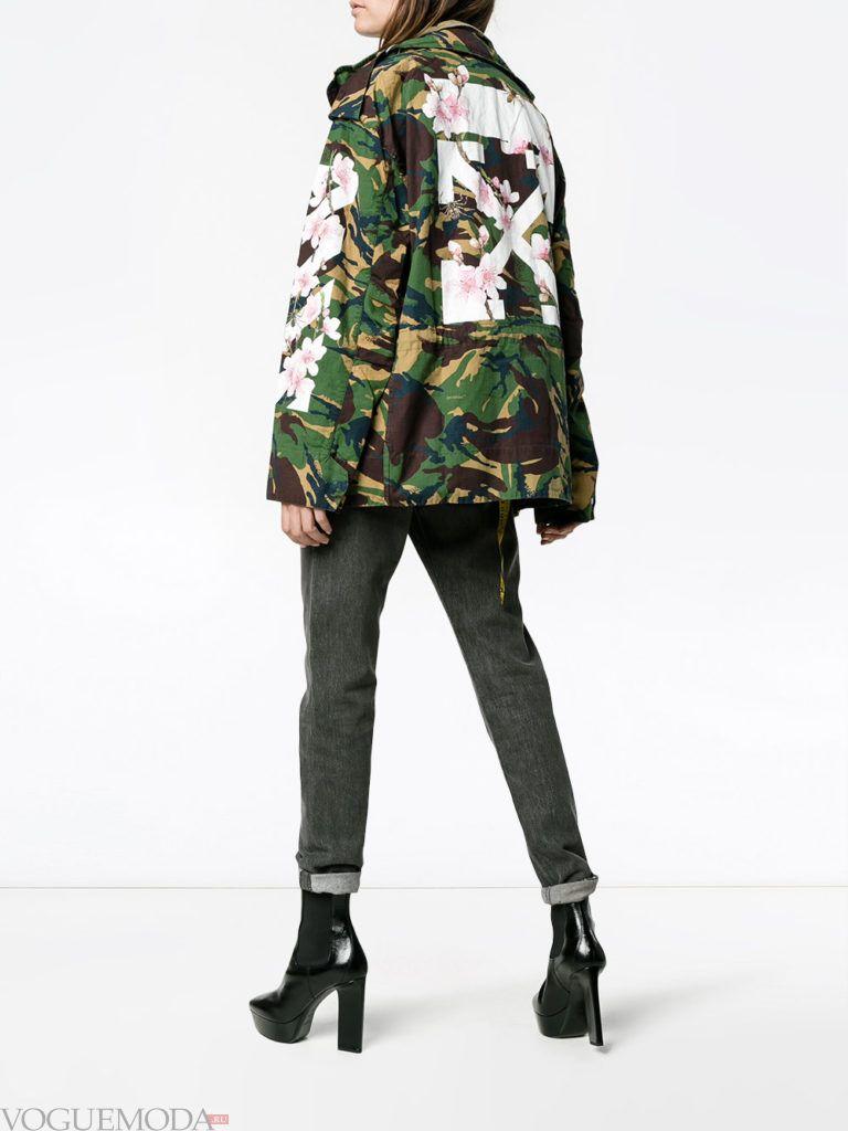 женская куртка в стиле милитари хаки