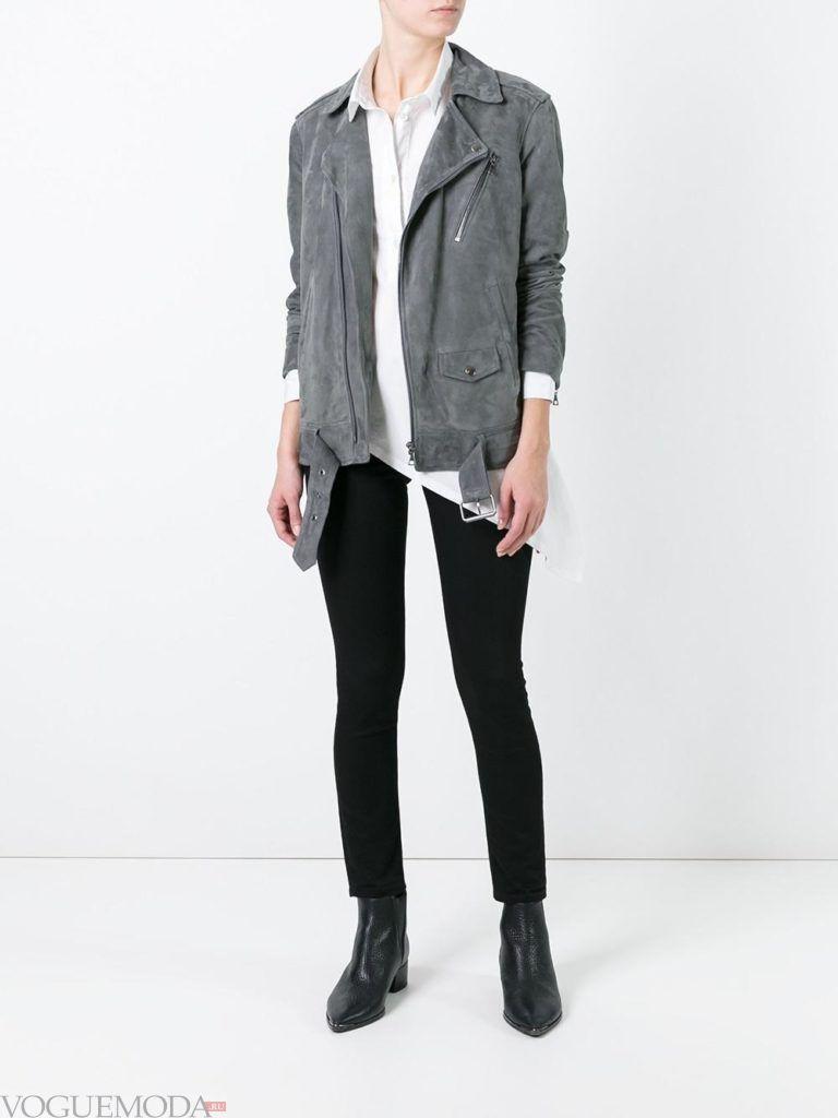 женская замшевая куртка серая