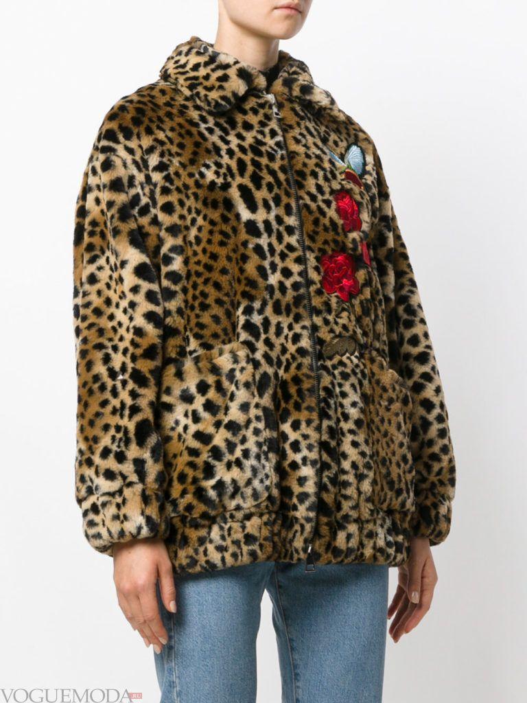 женская леопардовая куртка с декором