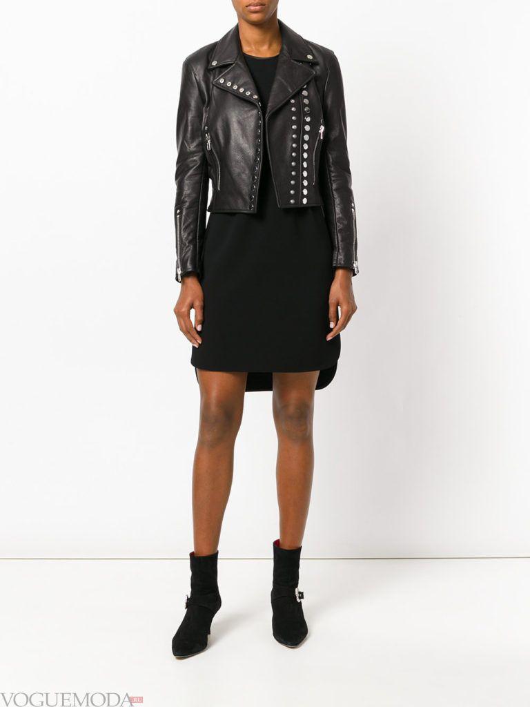 женские куртки осень-зима 2019 2020: байкерская черная