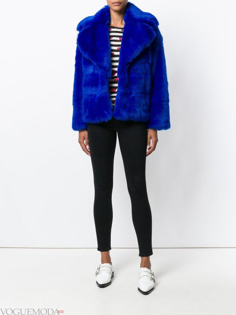 женская меховая куртка яркая