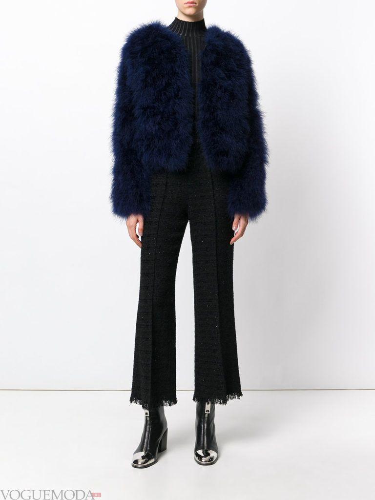 женская меховая куртка синяя