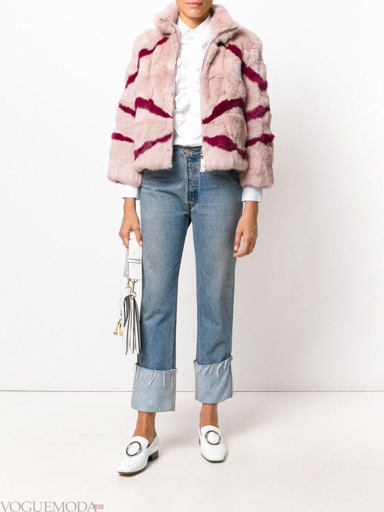 женская меховая куртка с полосками