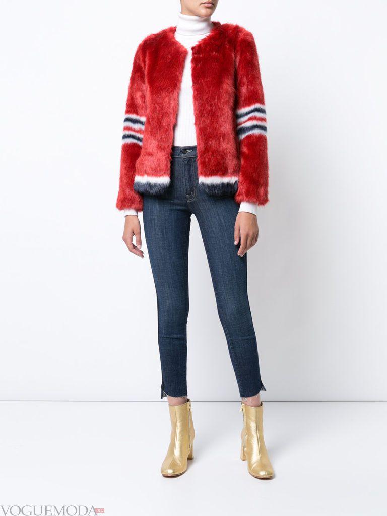 женская меховая куртка красная