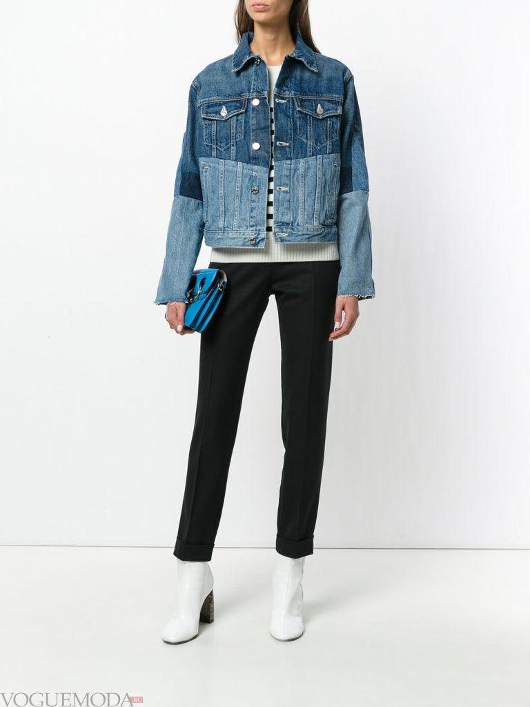 женская комбинированная куртка синяя
