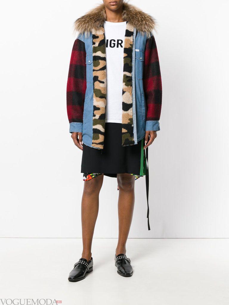 женская комбинированная куртка модная