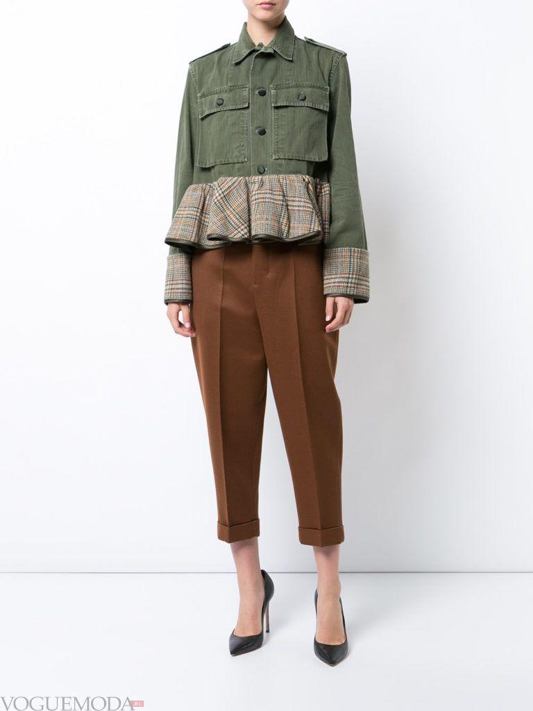 женская комбинированная куртка с баской
