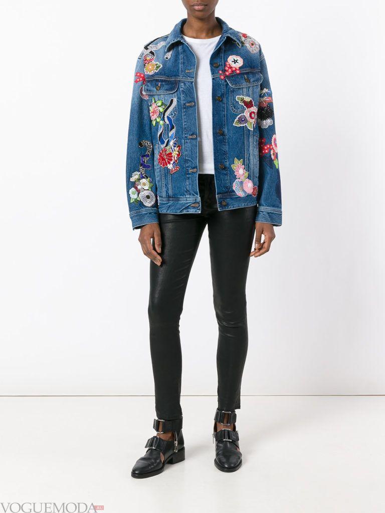 женская джинсовая куртка с декором