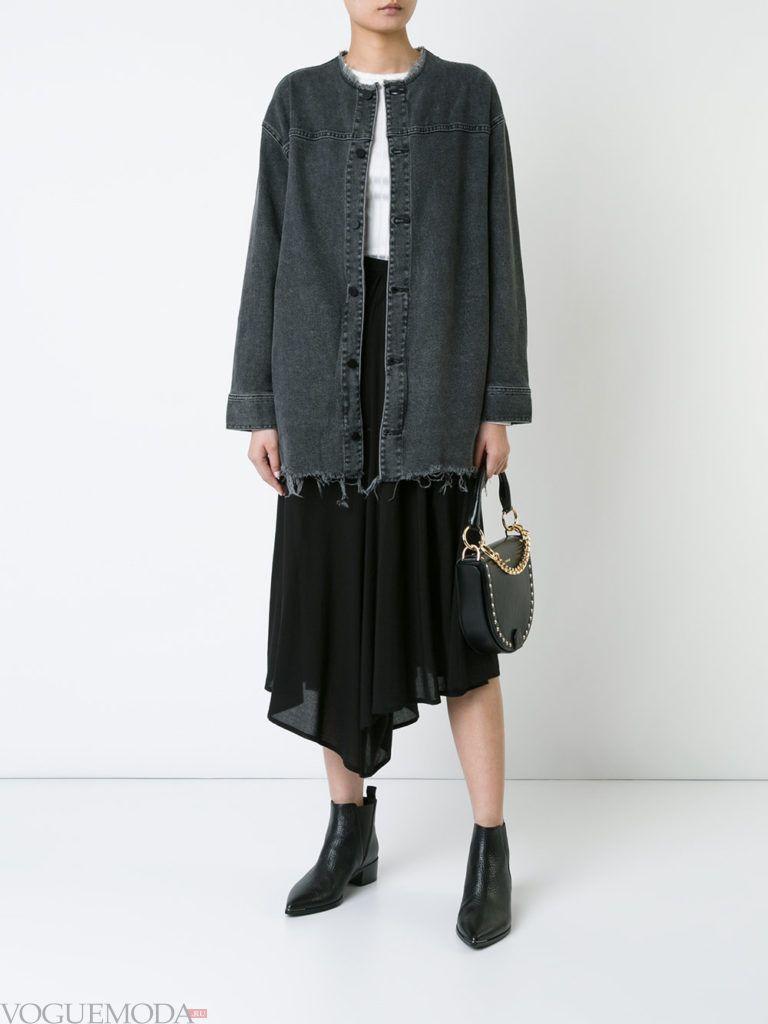 женская джинсовая куртка темная