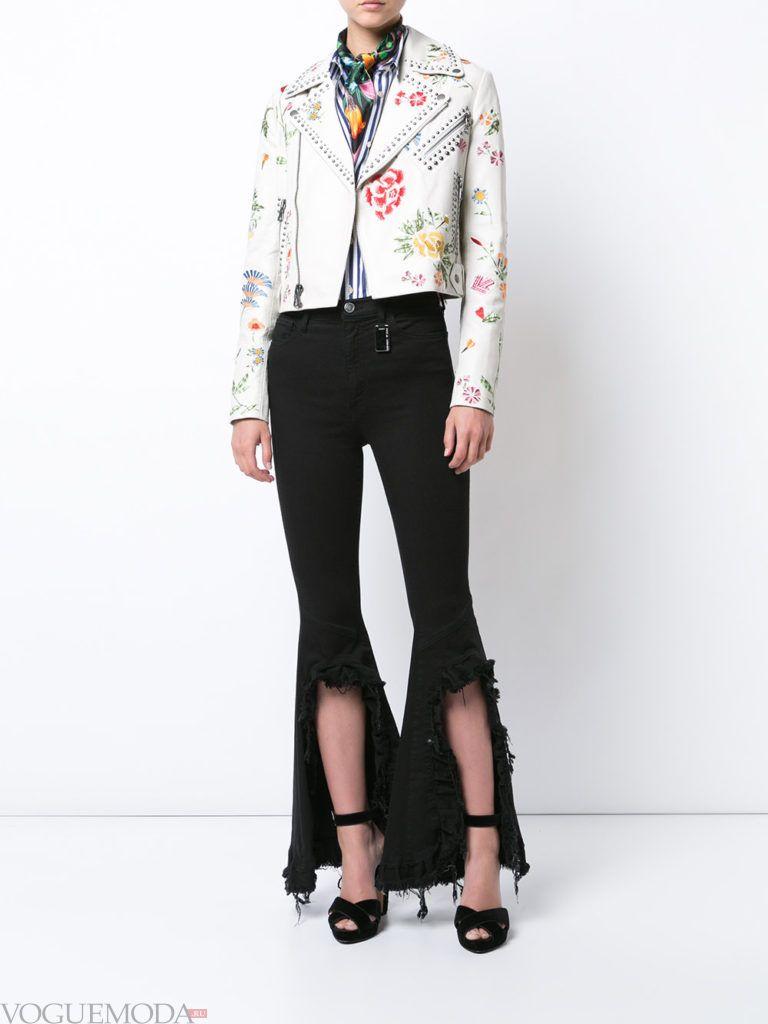 байкерская женская куртка с принтом