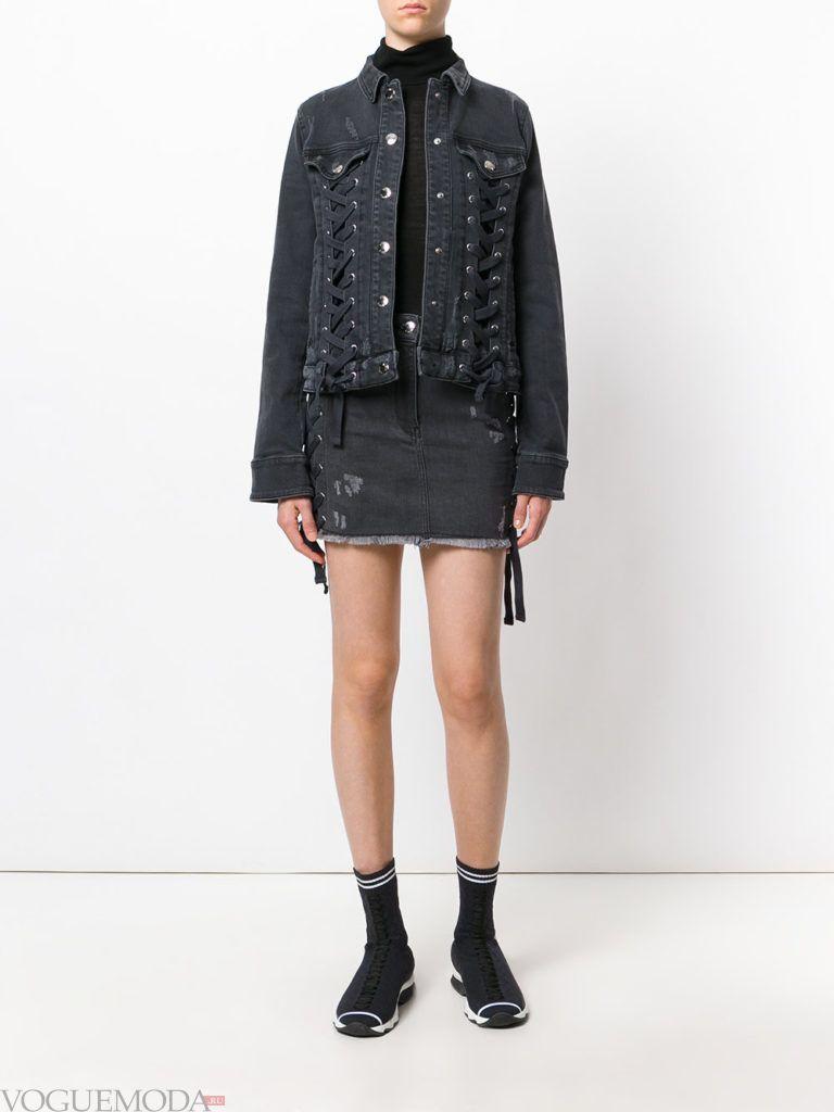 женские куртки осень-зима 2019 2020: с декором шнуровкой
