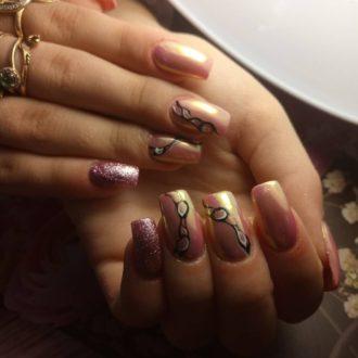 длинные ногти с декором