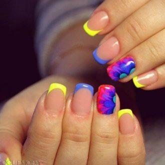 маникюр мазки на ногтях френч