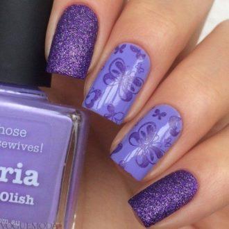 маникюр с рисунком фиолетовый