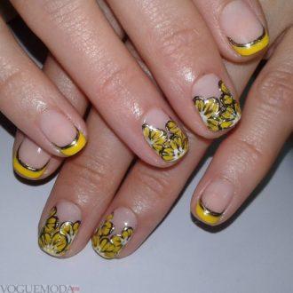 французский маникюр желтый