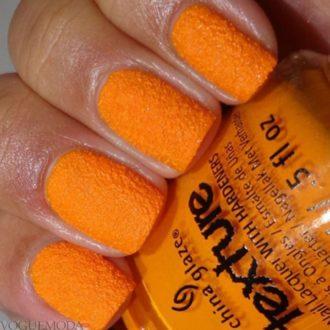 фактурный маникюр оранжевый
