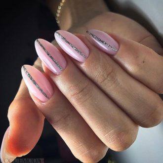 маникюр с серебром розовый
