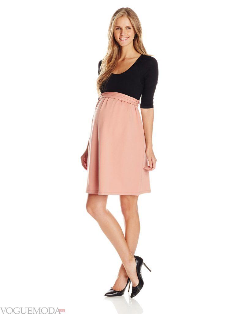 офисная одежда для беременных двухцветное платье