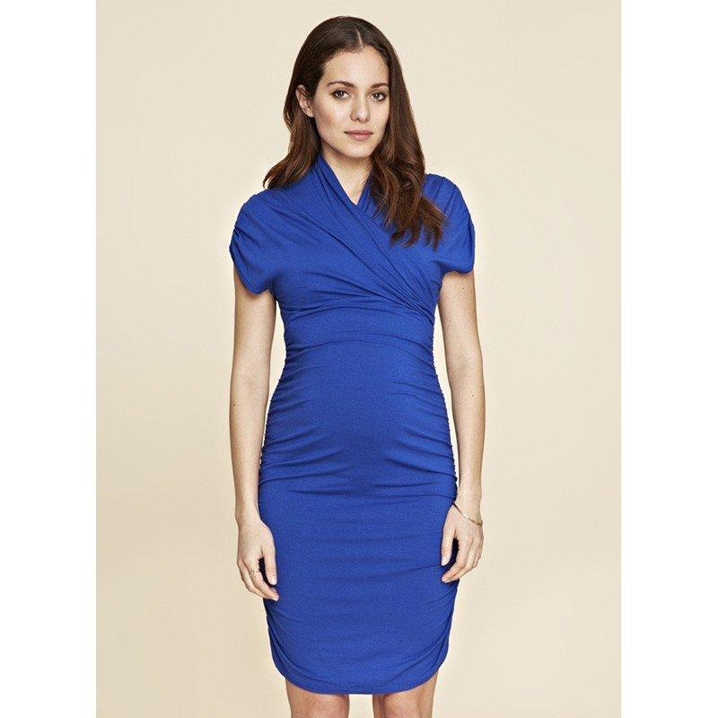 офисная одежда для беременных синее платье