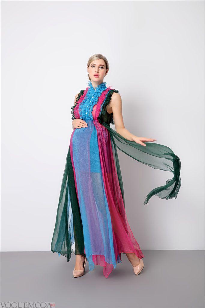 цветное платье макси для беременных