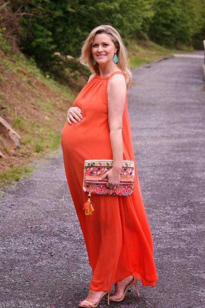 яркое платье макси для беременных