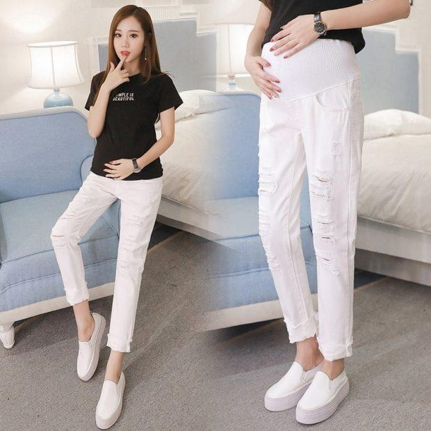 белые джинсы для беременных