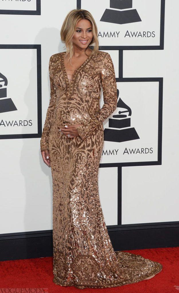 вечернее золотое платье для беременных