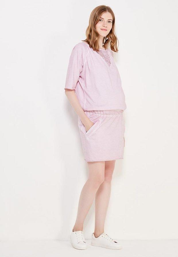 удобное платье для беременных розовое
