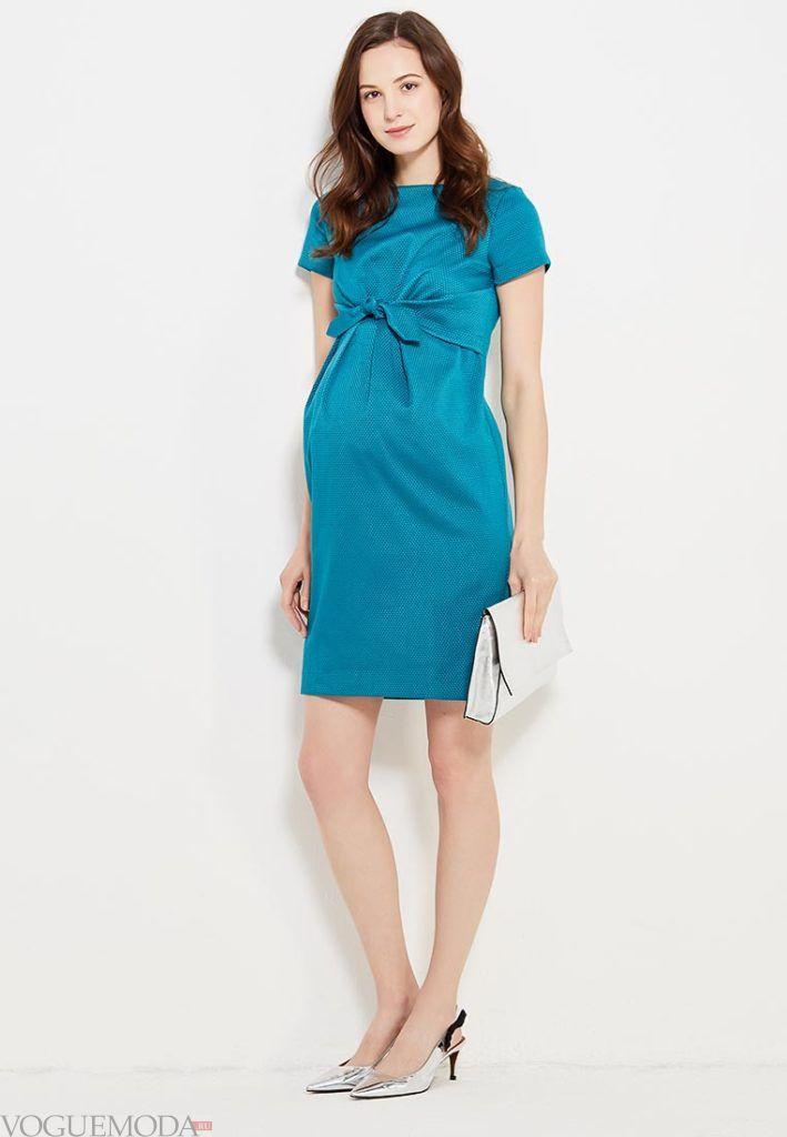деловое яркое платье для беременных