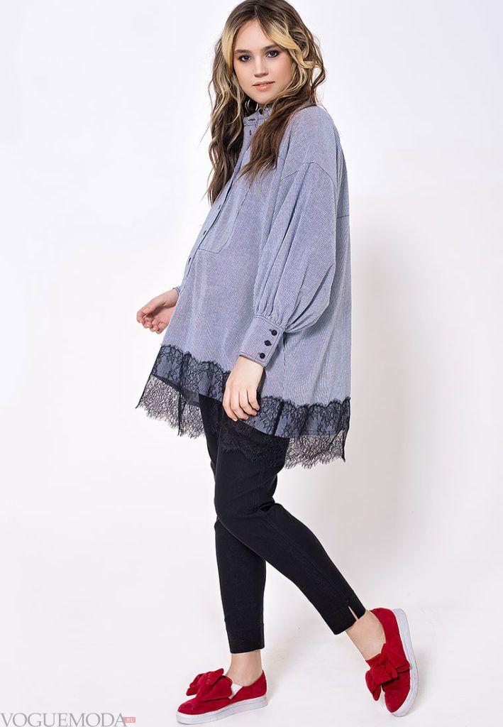 деловой лук с блузой для беременных
