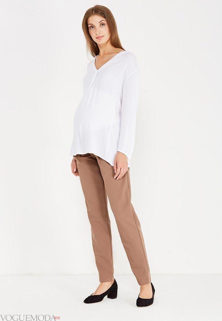брюки бежевые для беременных