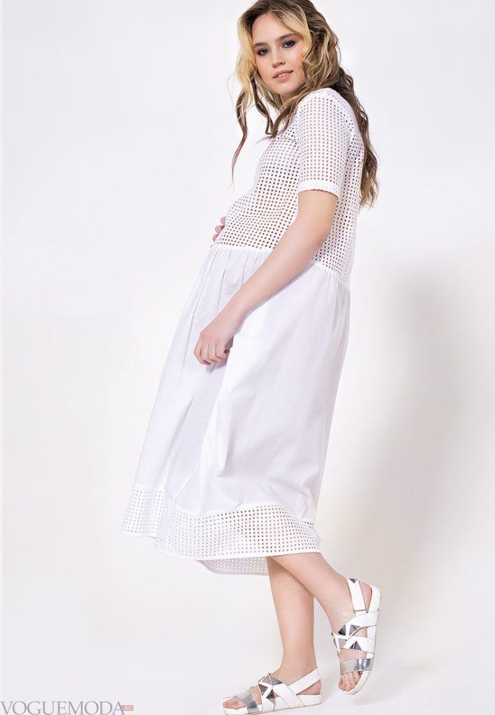 модное белое платье для беременных