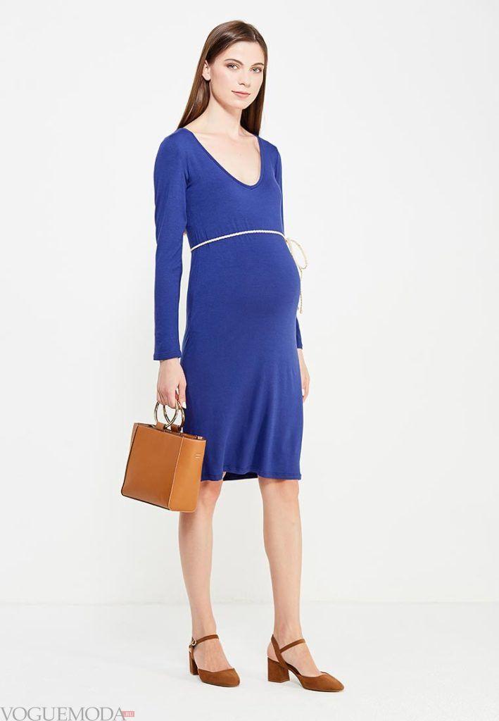 модное синее платье для беременных