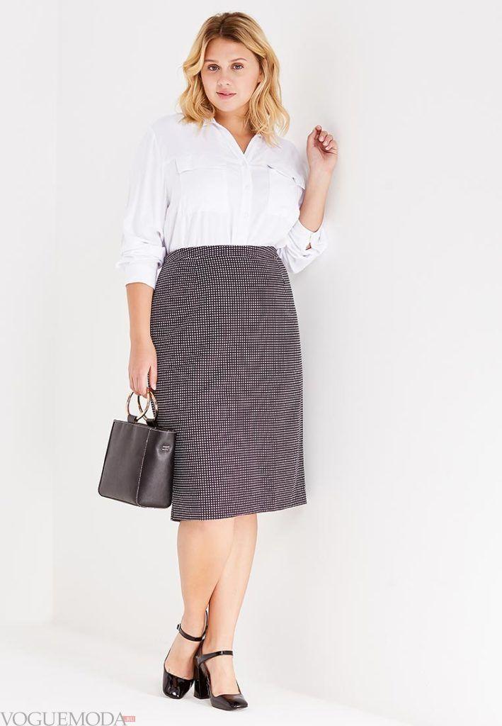 летняя юбка-карандаш с принтом для полных