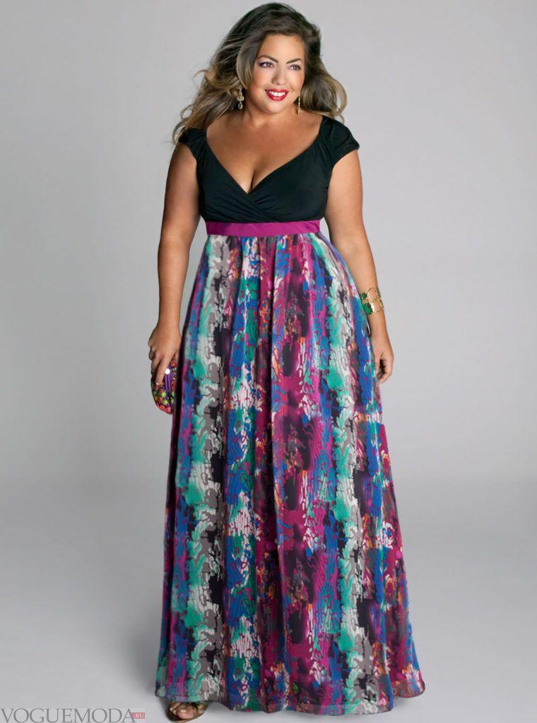 летнее платье в пол для полных цветное