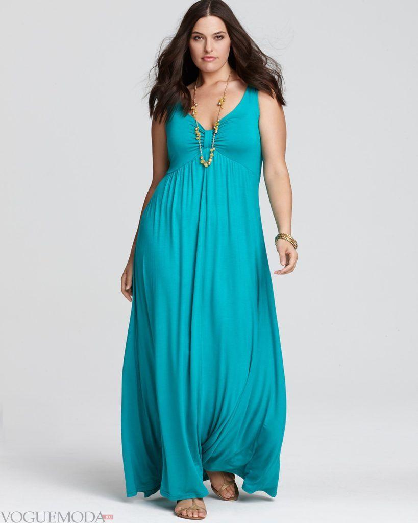 летнее платье в пол для полных бирюзовое