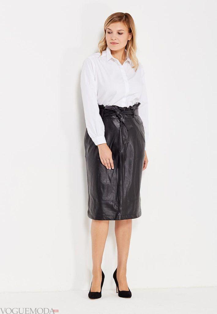летняя юбка-карандаш кожаная для полных