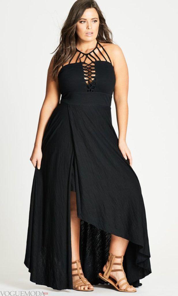 летнее вечернее черное платье для полных лето