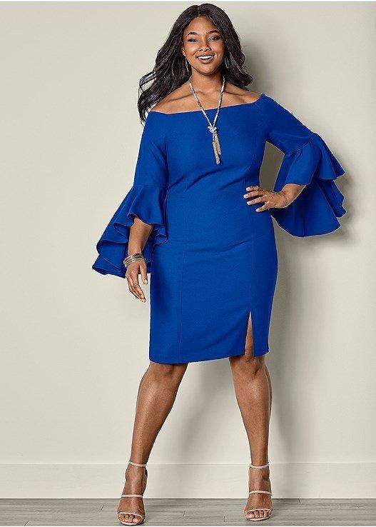 летнее приталенное платье для полных синее