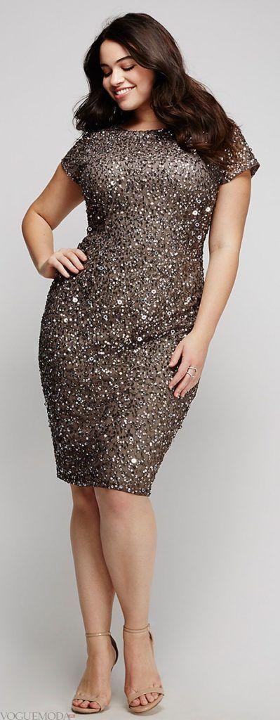 летнее приталенное платье для полных блестящее