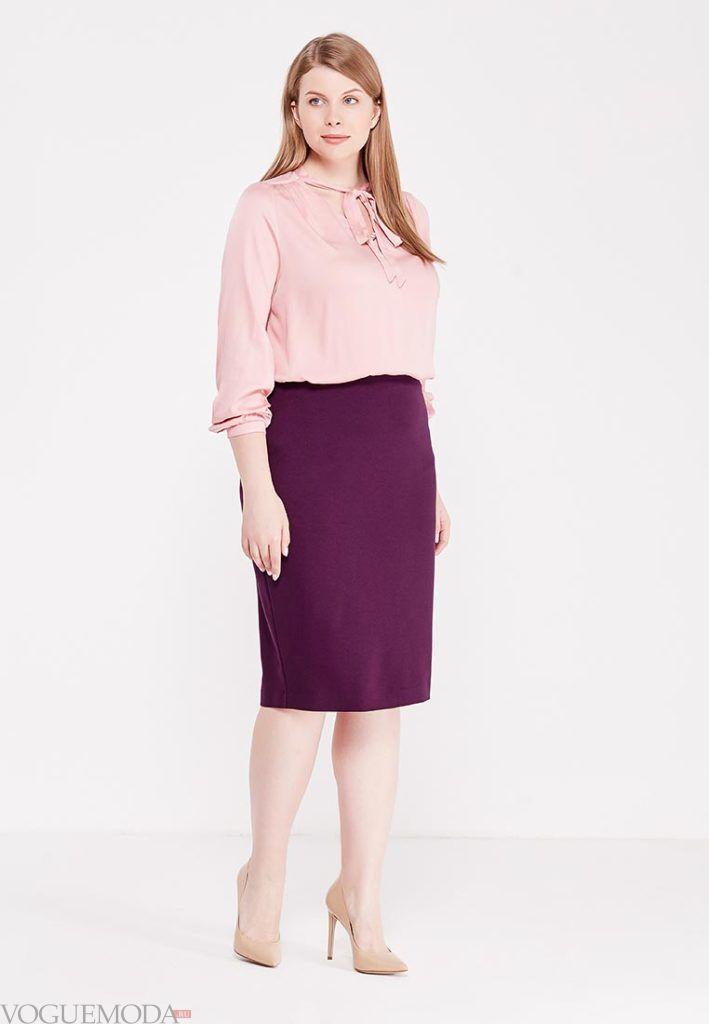 летняя юбка-карандаш бордо для полных