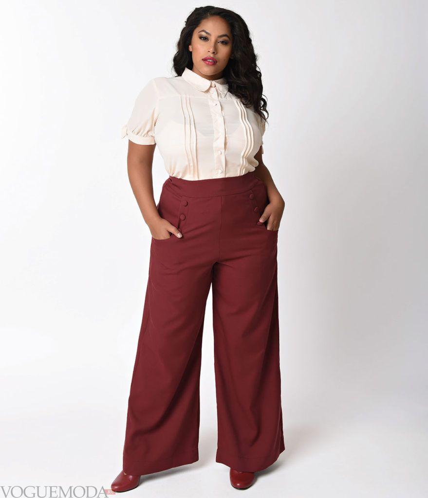 летние бордовые брюки для полных