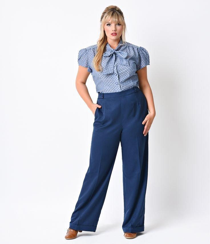 летние синие брюки для полных