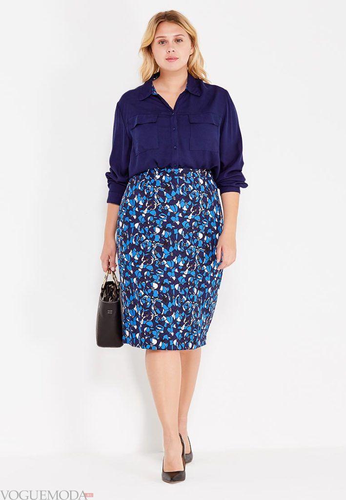 летняя юбка-карандаш яркая для полных