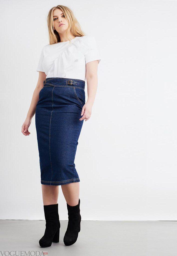 летняя юбка-карандаш джинсовая для полных